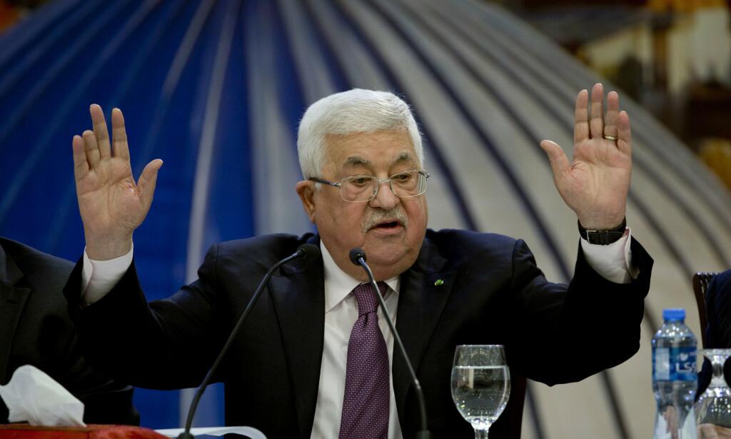 President Mahmoud Abbas i Ramallah på Vestbredden i forrige måned. Foto: Majdi Mohammed / AP / NTB scanpix