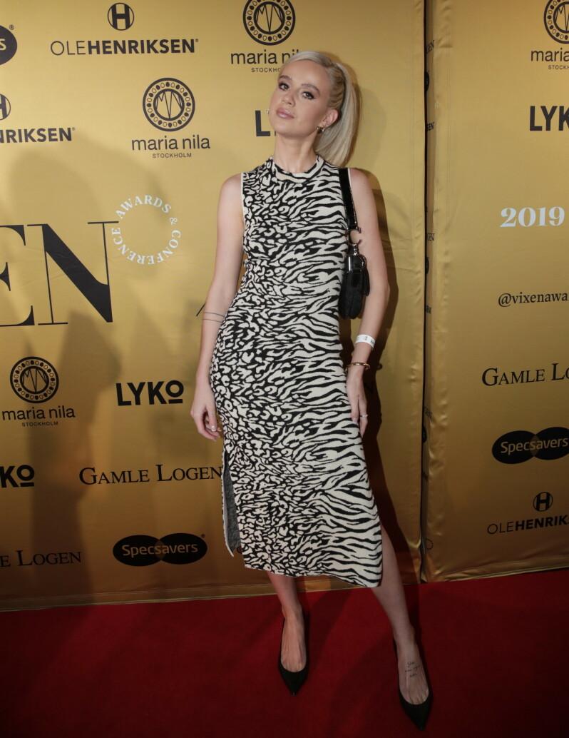 <strong>DATER IKKE:</strong> Under prisutdelingen Vixen Awards kunne Anniken Jørgensen fortelle at hun ikke tenker på dating. Foto: NTB Scanpix