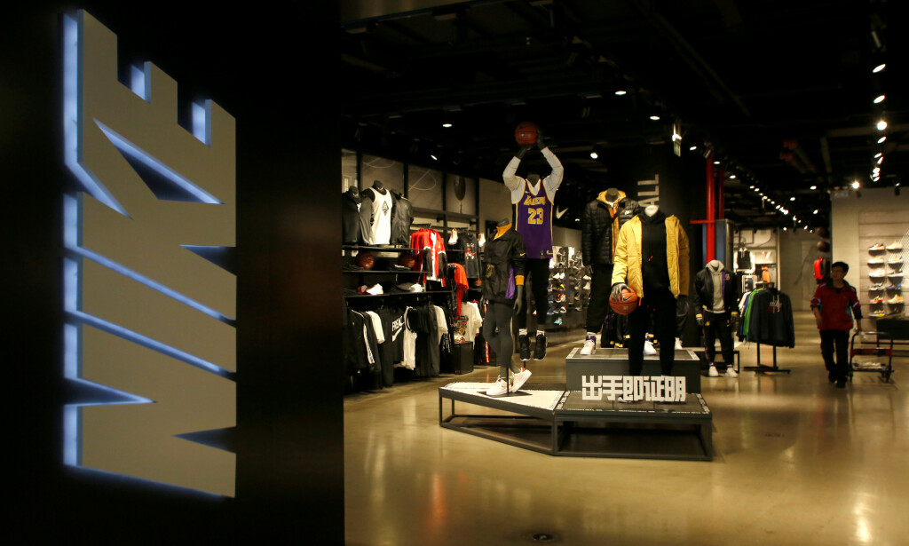 FILE PHOTO: A Nike store selling NBA Los Angeles Lakers sportswear is seen in Beijing, China October 10, 2019. REUTERS/Tingshu Wang/File Photo