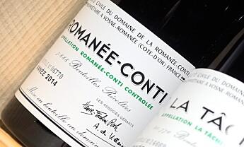 <strong>GODBIT:</strong> En Romanee-Conti fra 2014 fra produsenten ved samme navn kunne blitt din for 55.000 kroner, om du hadde vært tidlig nok ute i polkøen for årets Burgund-slipp. Foto: Endre Vellene