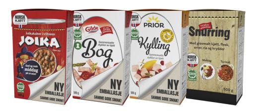 <strong>NY DRAKT:</strong> Dette er noen av produktene som får ny forpakning. Foto: Nortura