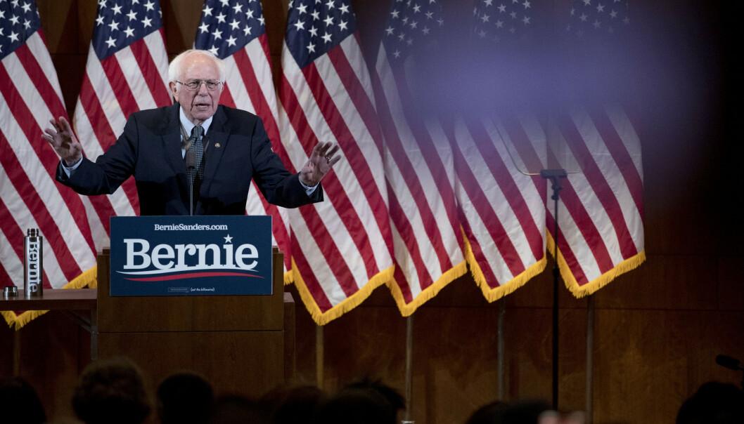 Senator Bernie Sanders har fått 26,1 prosent av delegatene i Iowa. Bildet viser Bernie Sanders i New Hampshire tirsdag. Foto: Andrew Harnik/AP/NTB scanpix