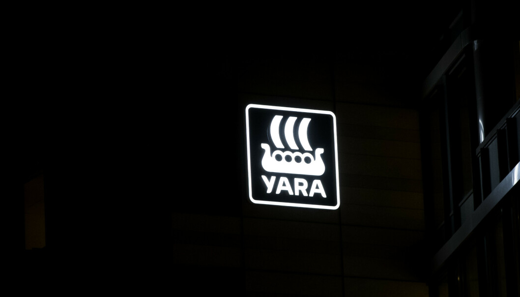 <strong>BEDRE RESULTAT:</strong> Gjødselgiganten Yara får et betraktelig bedre resultat før skatt i siste kvartal 2019, kontra året før. Foto: Terje Pedersen / NTB Scanpix