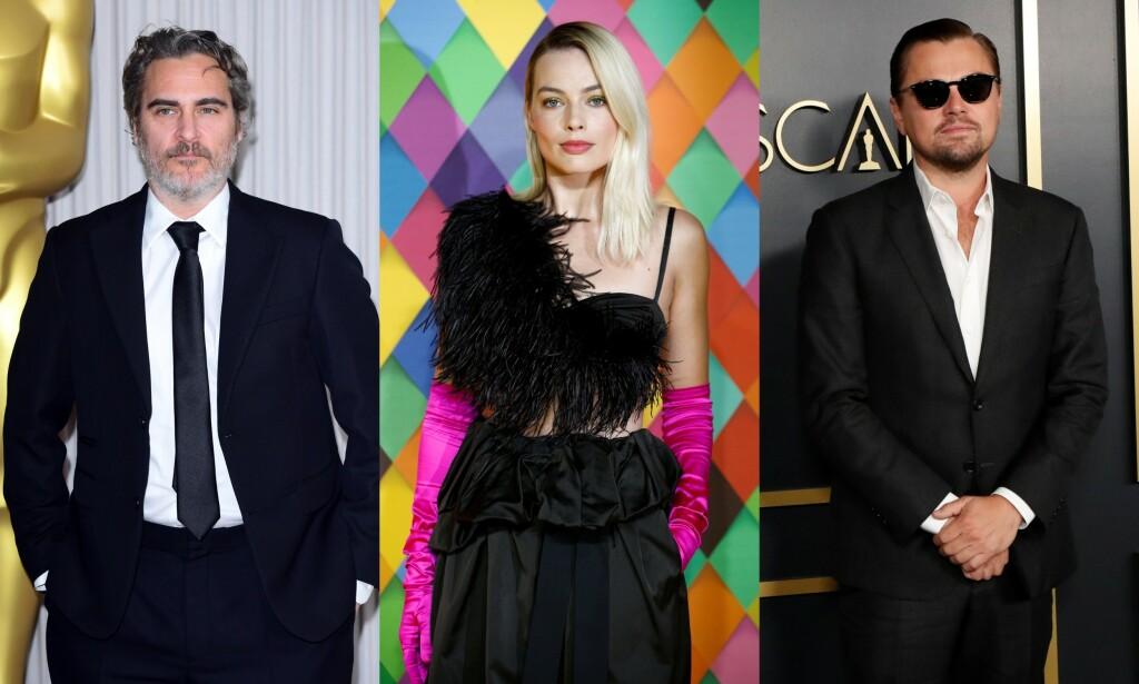 FÅR GAVEKORT TIL MILLIONVERDI: Joaquin Phoenix, Margot Robbie og Leonardo DiCaprio er alle nominert for sine skuespillerprestasjoner, og får derfor hver sin luksuriøse gavepose. Foto: NTB scanpix