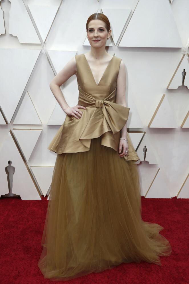 <strong>GULL:</strong> Manusforfatter Krysty Wilson-Cairns fikk masse oppmerksomhet for denne kjolen. Foto: NTB scanpix