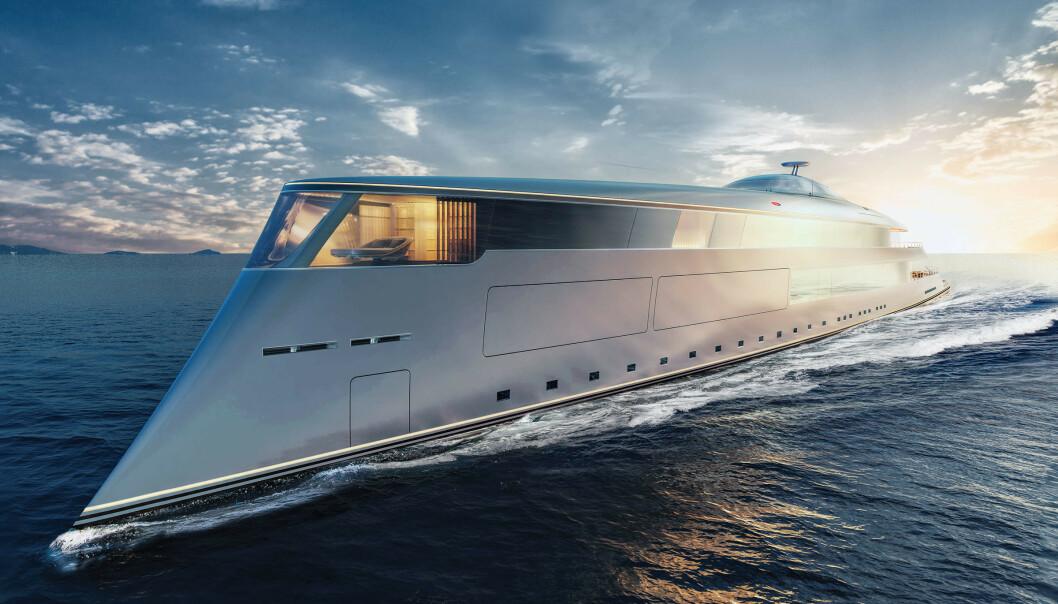 <strong>SUPERYACHT:</strong> Bill Gates har bestilt en 112 meter lang, hydrogendrevet Aqua-yacht. Designet av Sinot. Foto: Sinot