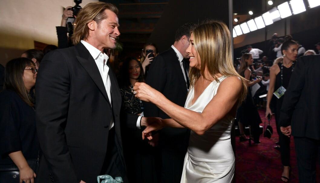 GJENFORENT: Brad Pitt og Jennifer Aniston ble gjenforent under SAG Awards i januar. Foto: NTB Scanpix