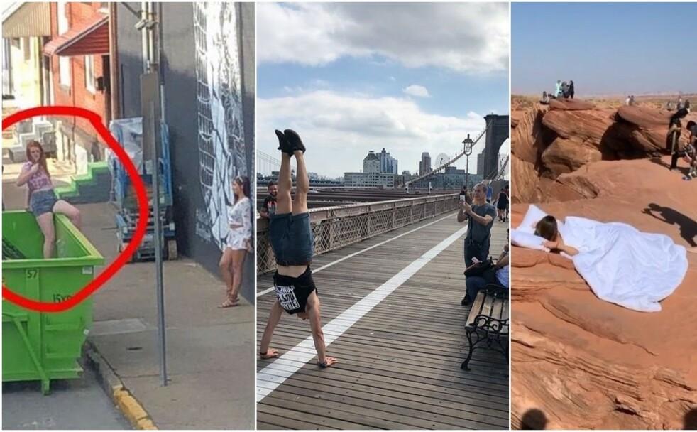 GJØR ALT FOR DET PERFEKTE BILDET: Tre eksempler på helt normal oppførsel i 2020. FOTO: Skjermdump fra «Influencers in the wild»