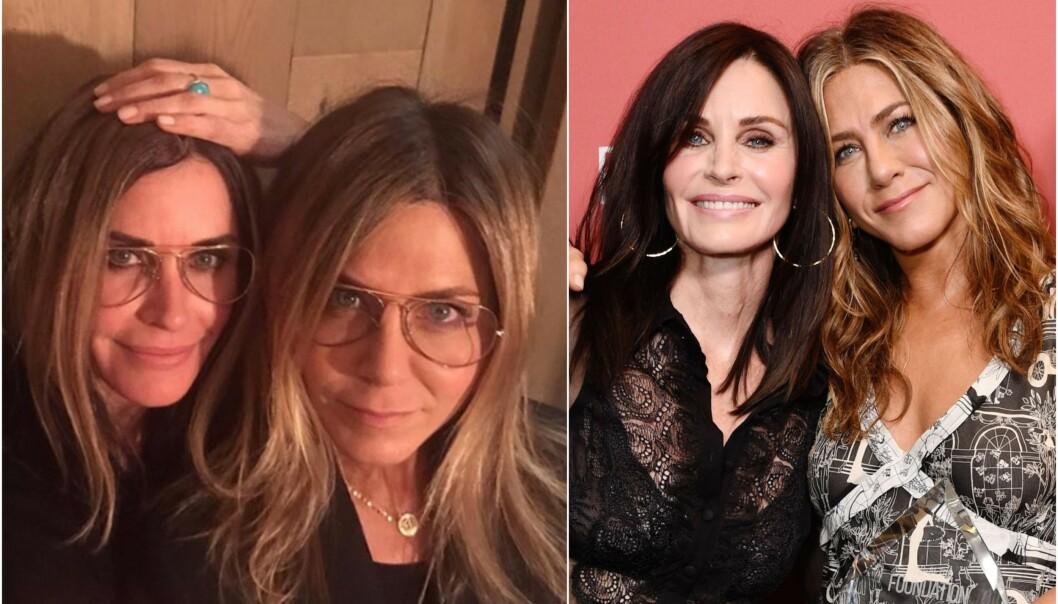 TVILLINGER? Courteney Cox kledde seg ut som venninnen da Jennifer Aniston fylte 51 år tidligere denne uken. Foto: NTB scanpix/ Skjermdump fra Instagram
