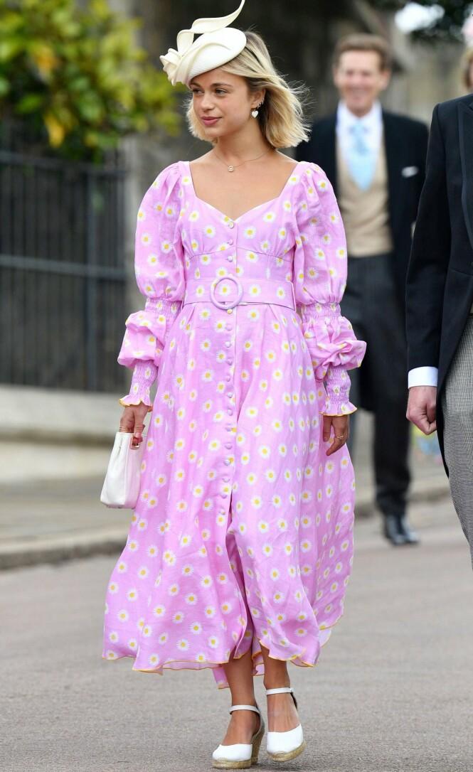 <strong>FASHIONISTA:</strong> Lady Amelia Windsor har pyntet seg for bryllupet til Gabriella Windsor og Thomas Kingston som var i fjor sommer. Foto: NTB Scanpix.