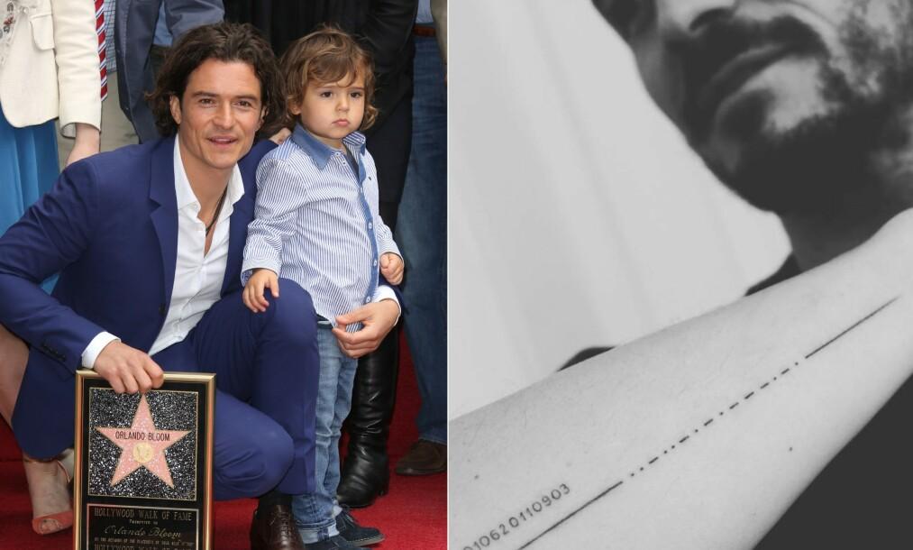 <strong>VILLE HYLLE SØNNEN:</strong> Orlando Bloom skulle hedre sønnen Flynn (9) med en tatovering. Det gikk ikke helt som planlagt. Her er far og sønn avbildet sammen i 2014. Foto: NTB Scanpix/ Skjermdump fra Instagram