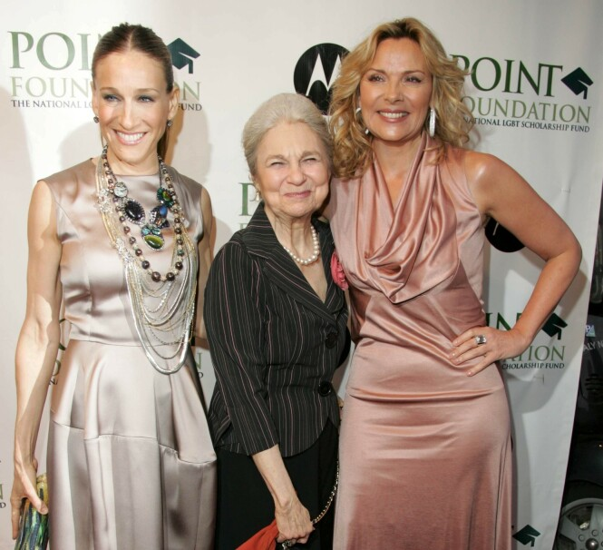 <strong>RØD LØPER:</strong> Lynn sammen med Sarah Jessica Parker og Kim Cattrall i 2008. Foto: NTB Scanpix