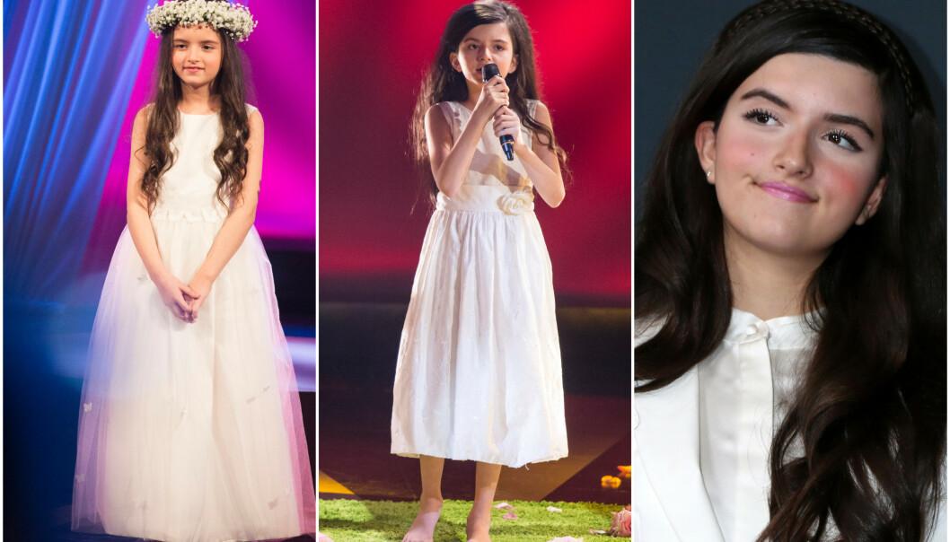 <strong>SANGTALENT:</strong> I en alder av åtte år vant Angelina Jordan «Norske talenter». Nå kan hun stikke av med seieren i nok en talentkonkurranse - denne gangen i USA. Her er hun avbildet barbeint på scenen ved to anledninger i 2014. Foto: NTB Scanpix