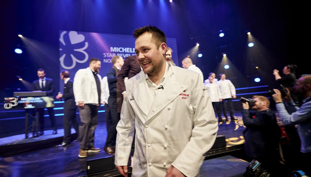 <strong>SPEILSALEN-KOKK:</strong> Christopher William Davidsen og Restaurant Speilsalen mottok én Michelin-stjerne. Foto: Ole Martin Wold / NTB scanpix