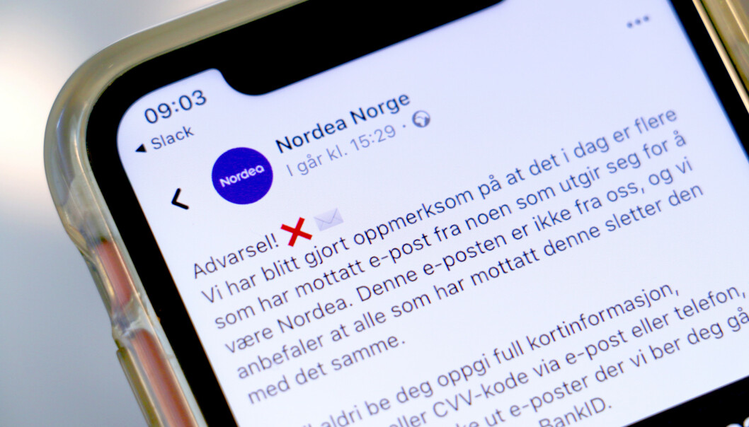 <strong>SVINDEL:</strong> Nordea advarer mot en e-post-svindel som er i omløp. - Slett den med det samme. Den er ikke fra oss, advarer de på Facebook. Foto: Kristin Sørdal