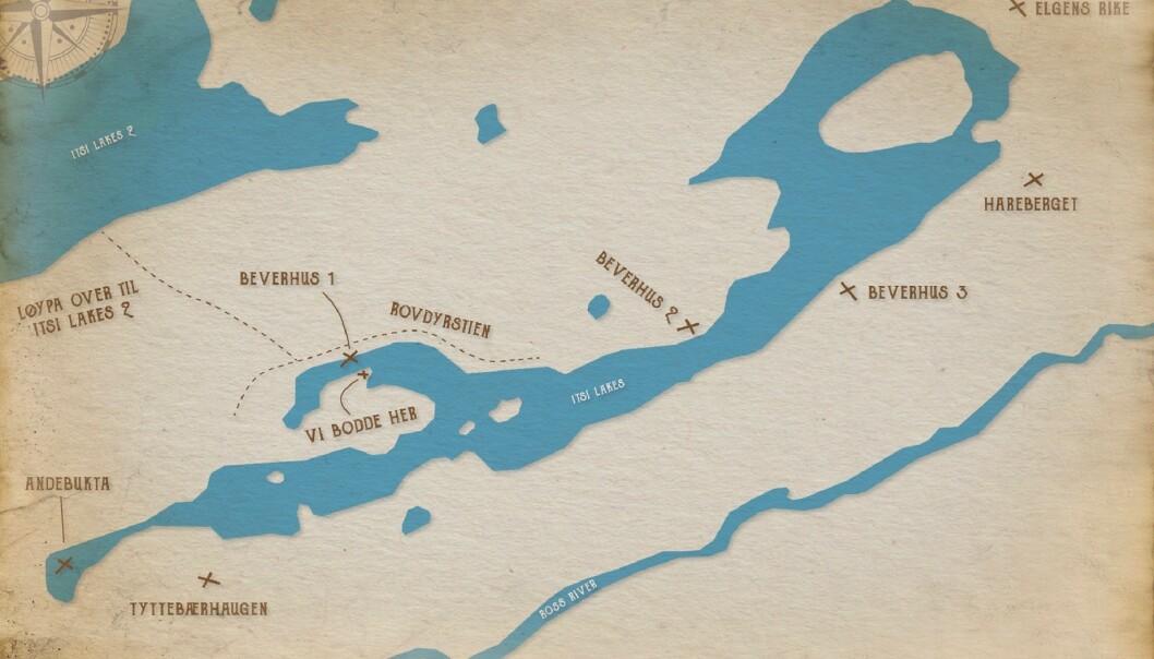 KART: Bildet viser et kart over området der de bodde i Canada. FOTO: Tonje Blomseth.
