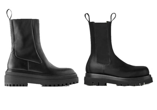 Skoen til venstre koster kroner 1195 og er fra Zara. Skoen til høyre koster kroner 8000 og er fra Bottega Veneta.