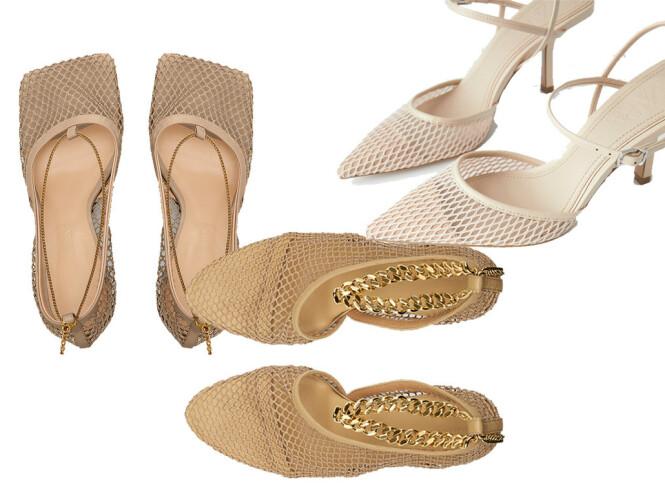 Skoene øverst til høyre er fra Zara og koster kroner 399. De to andre parene er begge fra Bottega Veneta og koster kroner 7600 og 9300.