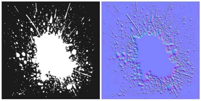 Maske (venstre). Normal map (høyre). Lånt fra https://threejs.org/examples.