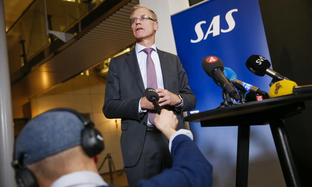 SJOKKERTE PILOTER: Under et møte to dager før SAS' resultatpresentasjon onsdag, kom konsernsjef Rickard Gustafson med en opplysning som sjokkerte SAS-pilotenes fagforeningsledere. Her under pilotstreiken i 2019. Foto: NTB Scanpix