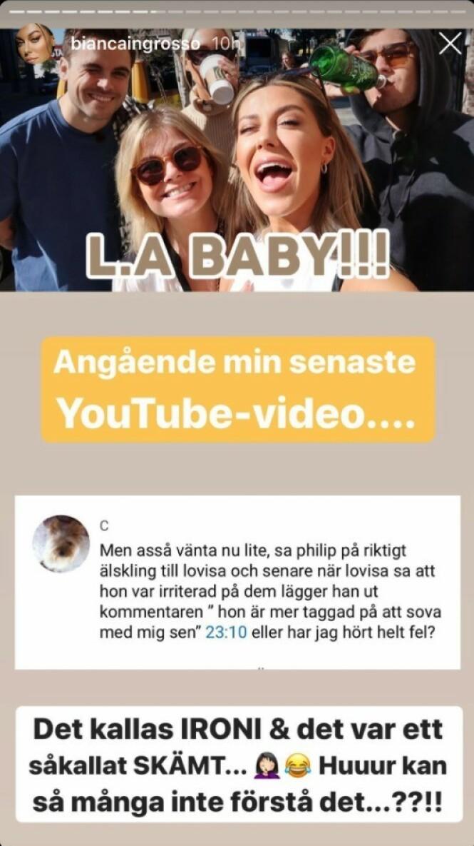 SPØK: Bianca Ingrosso forsvarer kjæresten på Instagram etter kommentarer. Foto: Instagram