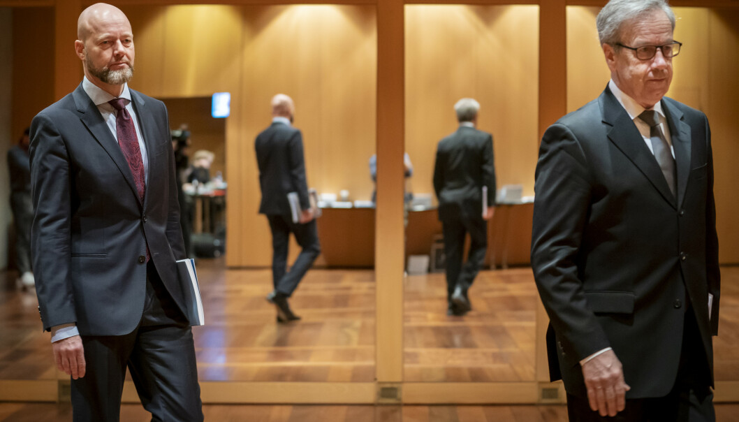 <strong>HISTORISK:</strong> Øystein Olsen (t.h.), leder for hovedstyret i Norges Bank og sjef i Statens pensjonsfond Yngve Slyngstadkan juble for at Oljefondet fikk en avkastning på 19,9 prosent i 2019. Det tilsvarer 1.692 milliarder kroner. Foto: Heiko Junge / NTB scanpix