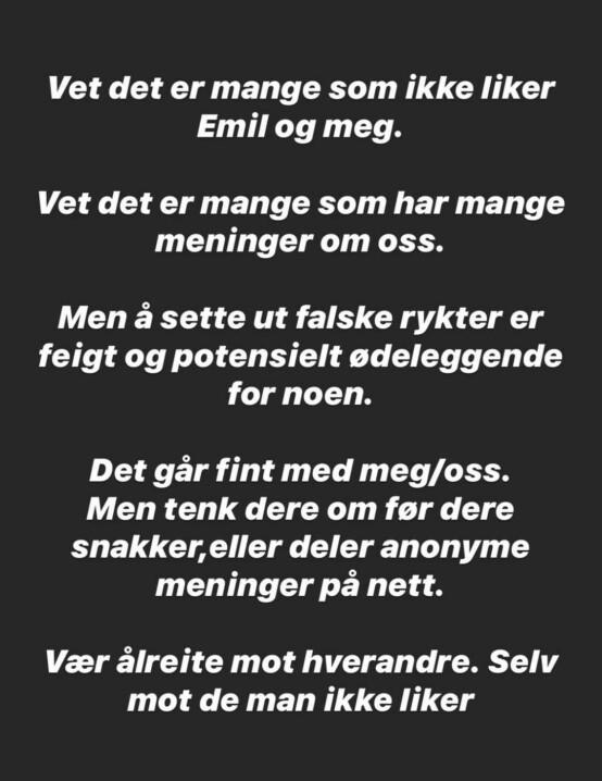 <strong>SVARER:</strong> Silas Massa Vasstrand svarte på Instagram etter at ryktene ble kjent. Foto: Skjermbilde fra Instagram