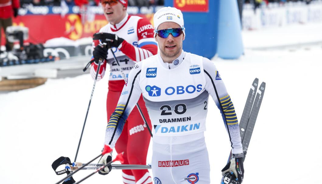 Teodor Peterson fra Sverige i aksjon under verdenscup langrenn sprint klassisk i Drammen sist sesong. Foto: Terje Bendiksby / NTB scanpix.
