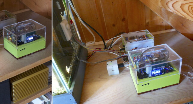 Styringsboks, temperaturfølere og USB-vaktund og releboks (bakerst). 📸: Øyvind Teig