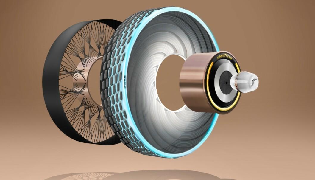 <strong>PUNKTERER IKKE:</strong> Dekket er forsterket, slik at det ikke punkterer. I tillegg er dekktrykket konstant. Ill: Goodyear