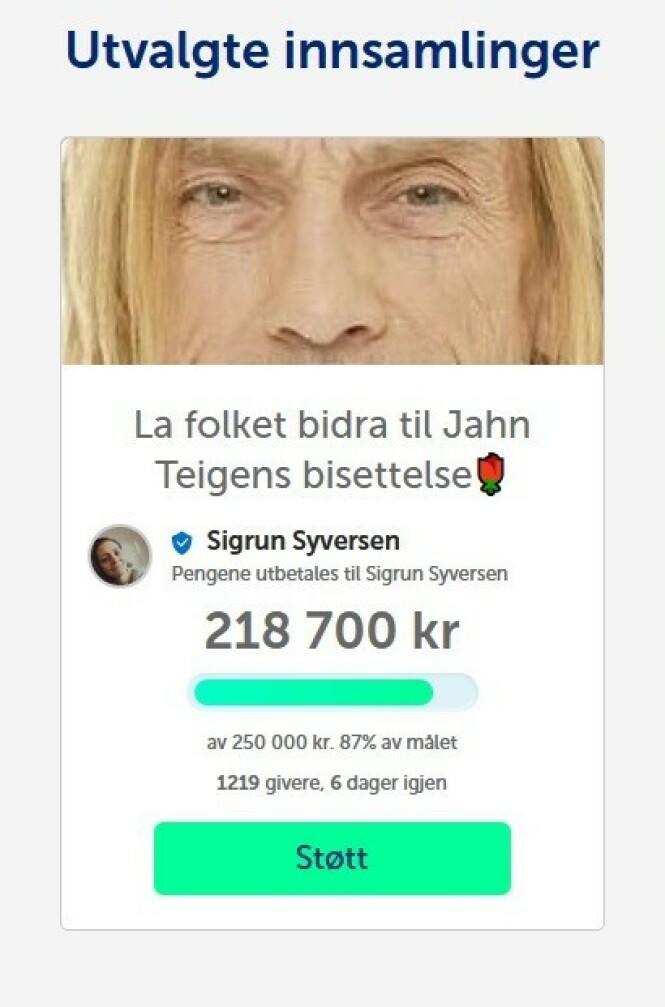 <strong>INNSAMLING:</strong> Folket har samlet inn en god del penger til Jahn Teigens bisettelse. SKJERMDUMP: Fra Spleis.no