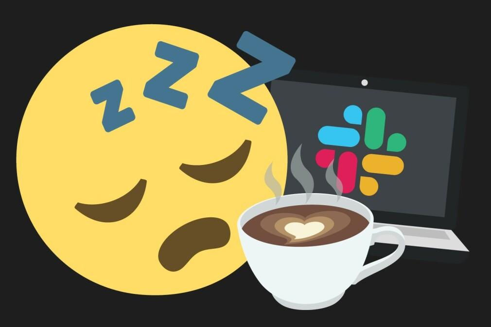 Trøtte, norske utviklere starter gjerne dagen med kaffe. Og litt mer kaffe. Så kanskje litt Slack. 📸: Ole Petter Baugerød Stokke