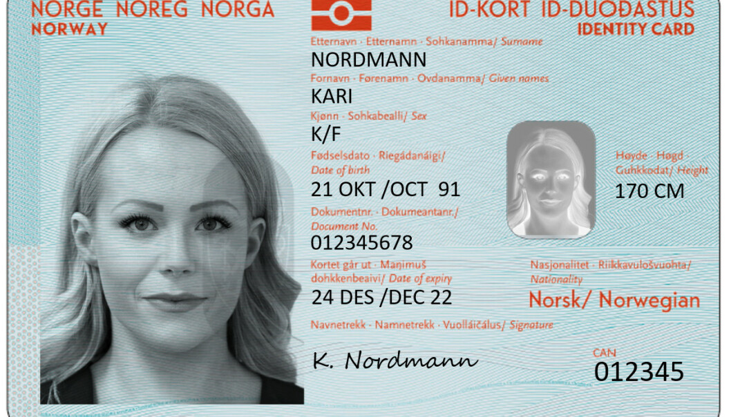 Dette utkastet fra 2018 viser hvordan de nye nasjonale ID-kortene skal se ut. Foto: Politiet / NTB Scanpix