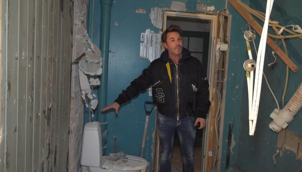<strong>KAOS:</strong> Jan Thomas' nye bolig så ut som et falleferdig hobbithull da Se og Hør begynte filmingen. Foto: Se og Hør