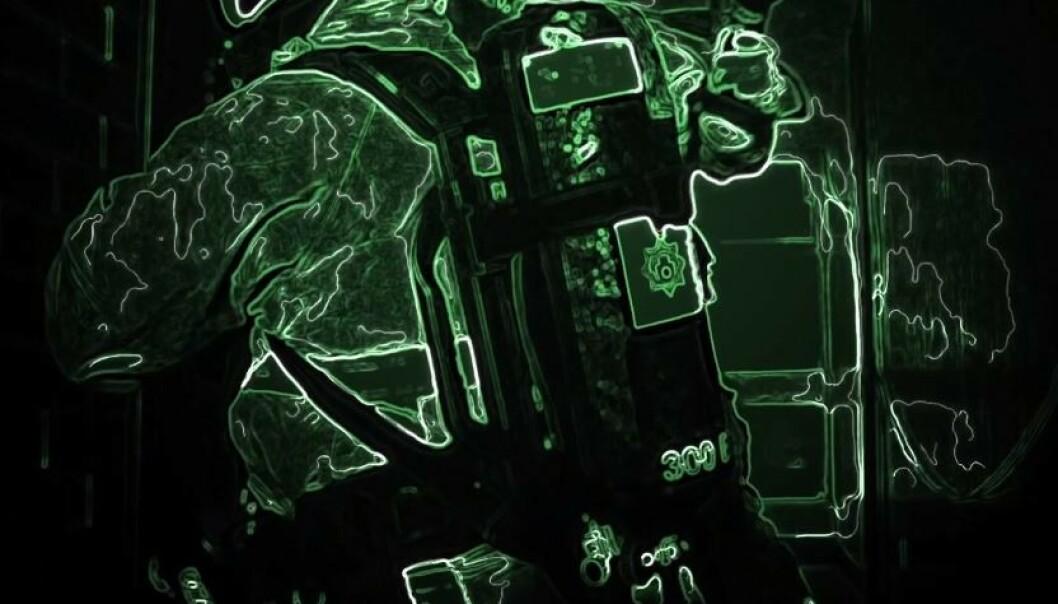 EN SLAGS NATTKIKKERT? Dette er en skjermdump hentet fra en video hvor den som bruker C-thru ser på en annen person i brannvesenet. Foto: Qwake