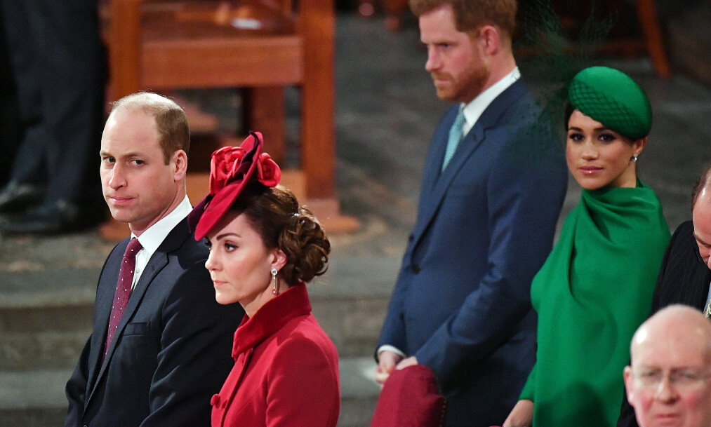ANSTRENGT STEMNING?: Mandag ettermiddag var prins William, hertuginne Kate, prins Harry og hertuginne Meghan gjenforent på sitt første (og kanskje siste) offisielle oppdrag på mange måneder. Men det hele var ikke nødvendigvis et gledelig gjensyn. Foto: NTB scanpix