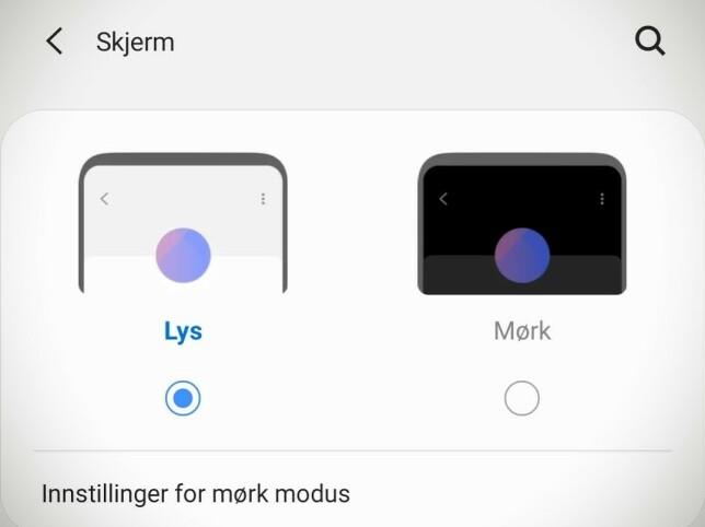 Mørk modus er ekstra behagelig på kveldstid og gjør også at Amoled-skjermen bruker mindre strøm. Skjermbilde: Pål Joakim Pollen