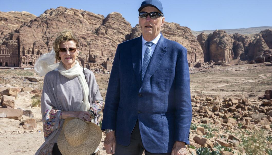 KARANTENE: Kong Harald og dronning Sonja sitter i karantene etter et statsbesøk i Jordan tidligere denne måneden. Foto: Andreas Fadum/ Se og Hør