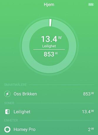 Oversikt over strømforbruket. Vi bruker Oss-brikken for å registrere forbruket.