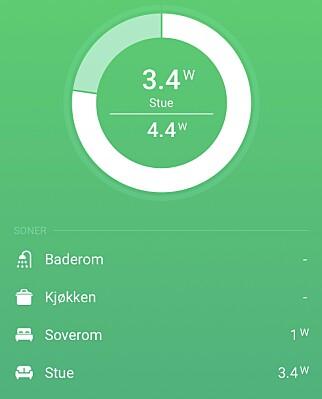 Du kan se strømforbruket på romnivå, men det krever smartplugg eller produkter som rapporterer strømforbruket.