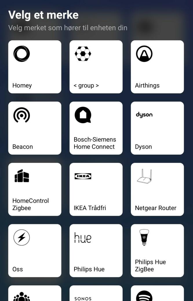 Noen av de mange appene du kan legge til i Homey.