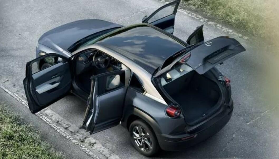 Prisene for nye Mazda MX-30 starter på 249.900 kroner. Foto: Mazda.