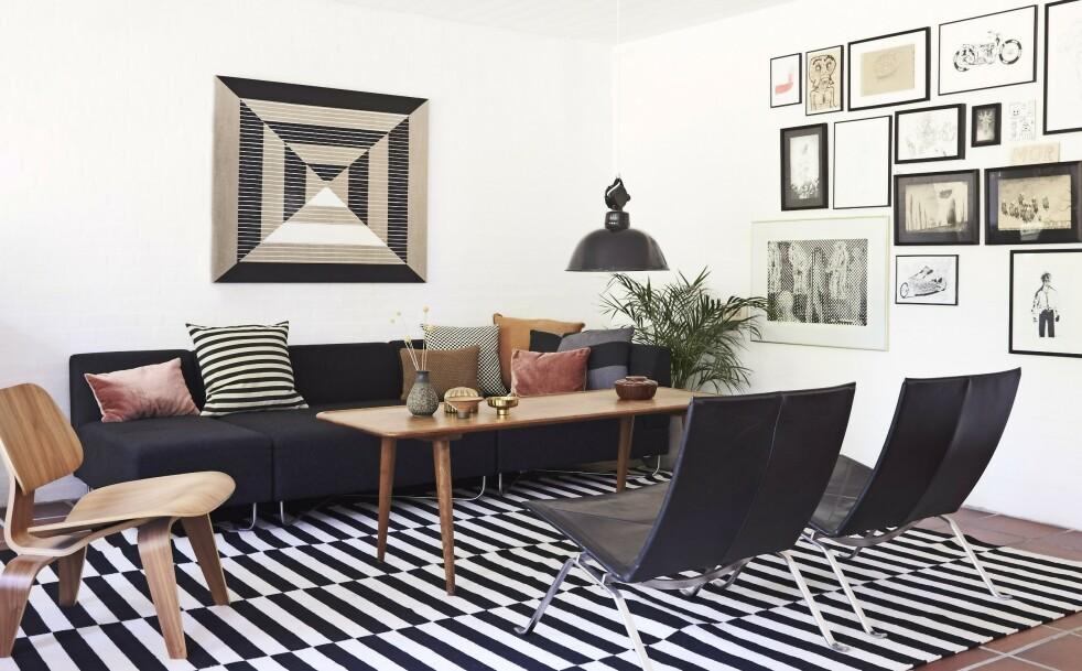 INTERIØR: Tips! Hvis du innreder stramt og grafisk, kan du la veggene fylles med kunstverk. FOTO: Ditte Capion