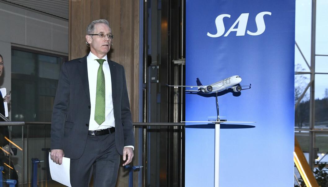 Konsernsjef Rickard Gustafson i SAS har varslet at selskapet stanser mesterparten av virksomheten fra og med mandag. Foto: Claudio Bresciani / TT / NTB scanpix