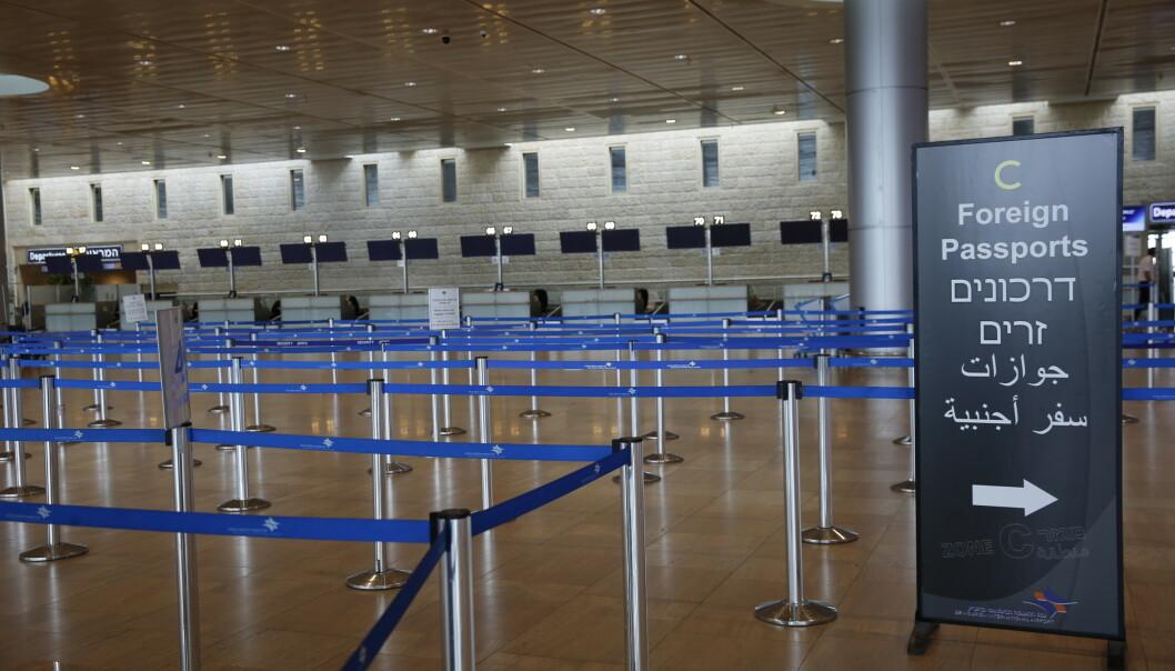 Innsjekkingsskrankene er tomme på Ben Gurion-flyplassen i nærheten av Tel Aviv, Israel. Foto: Ariel Schalit / AP / NTB scanpix