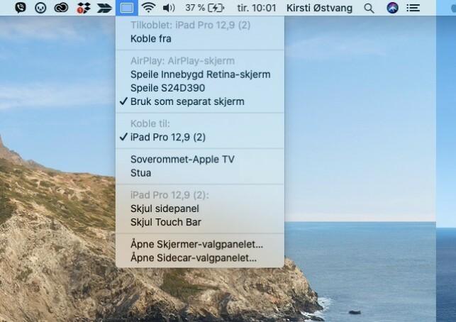 KOBLE TIL: Fra AirPlay-menyen på Mac-en kan du velge hvilken skjerm som skal kobles til, for eksempel iPad-en din. Skjermbilde: Kirsti Østvang