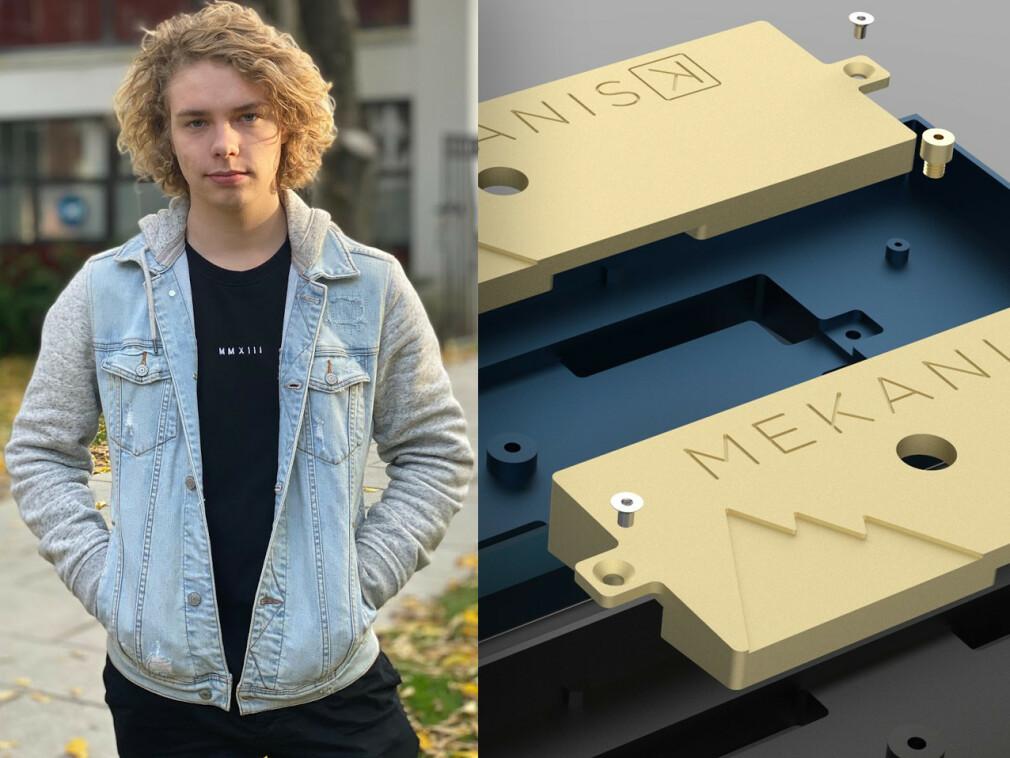 William Jarbeaux studerer dataingeniør på NTNU, og driver tastaturprodusenten Mekanisk ved siden av studiene. Til høyre ser du noen av delene han får produsert på fabrikken i Kina. 📸: Privat / Mekanisk
