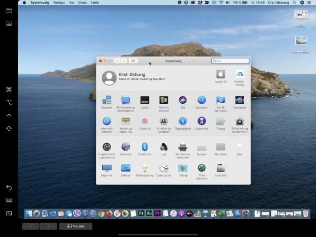 EKSTRA FUNKSJONER: Du kan velge å skru på både sidepanel og Touch Bar (se innstillingspanelet over) som vises på iPad-skjermen når den er koblet ditt. Førstnevnte (som er på venstre side av skjermen) gir tilgang på ofte brukte kontroller. Sistnevnte fungerer som Touch Bar-linjen som finnes på nyere bærbare Mac-er. Skjermbilde: Kirsti Østvang