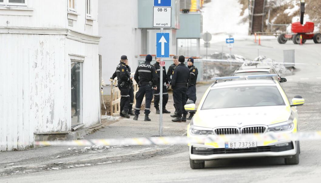 En kvinne ble tirsdag morgen pågrepet av politiet og siktet for drap etter en voldshendelse i Gjøvik. Foto: Geir Olsen / NTB scanpix