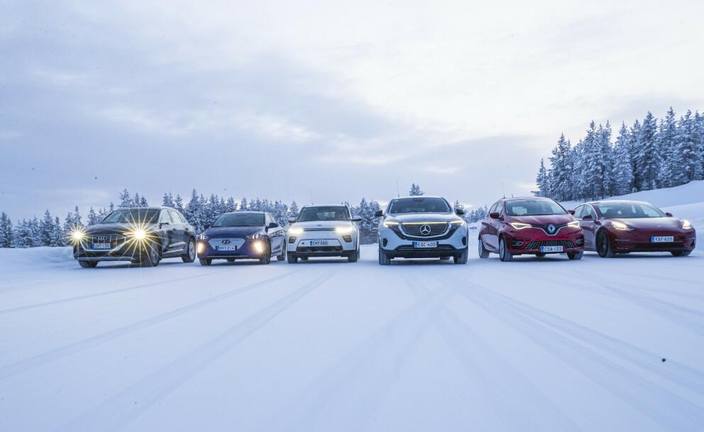 <strong>TØFF TEST:</strong> Vi har kjørt Audi e-Tron, Hyundai Ioniq, KIa e-Soul, Mercedes EQC, Renault Zoe og Tesla Model 3 gjennom tøffe vintertester. De dyreste er ikke alltid de beste. Foto Markus Pentikainen